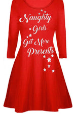 Red 'Naughty Girls' Slogan Christmas Swing Dress