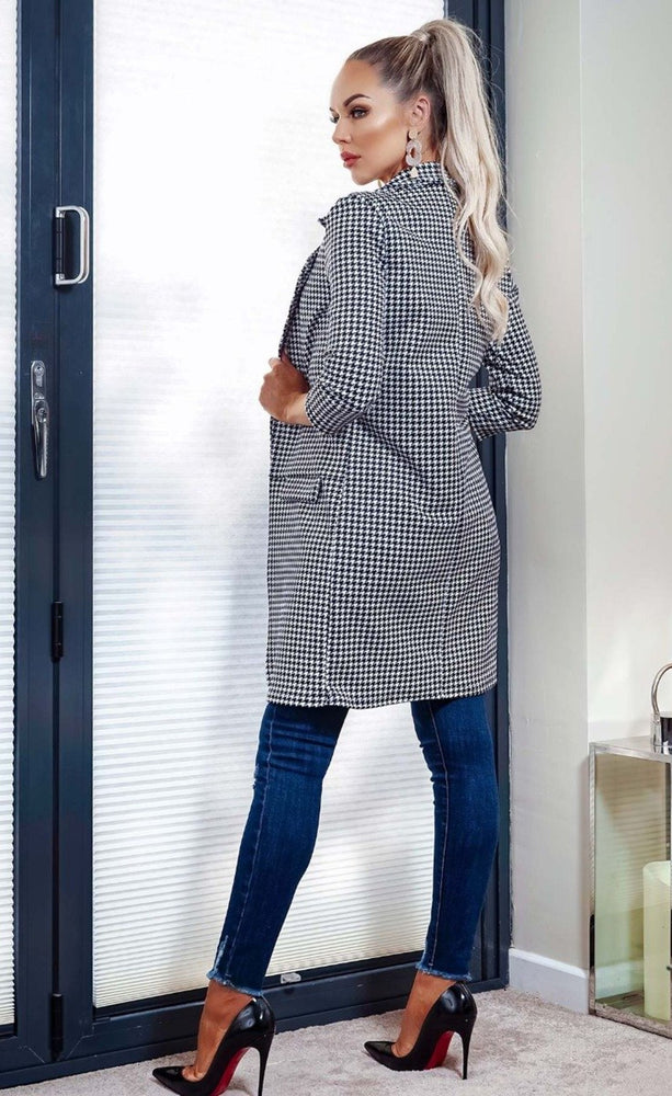Hilary Ivory Dogtooth Checked Longline Jacket - Missfiga.com