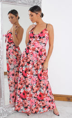 Humara Pink Floral Button Maxi Dress - Missfiga.com