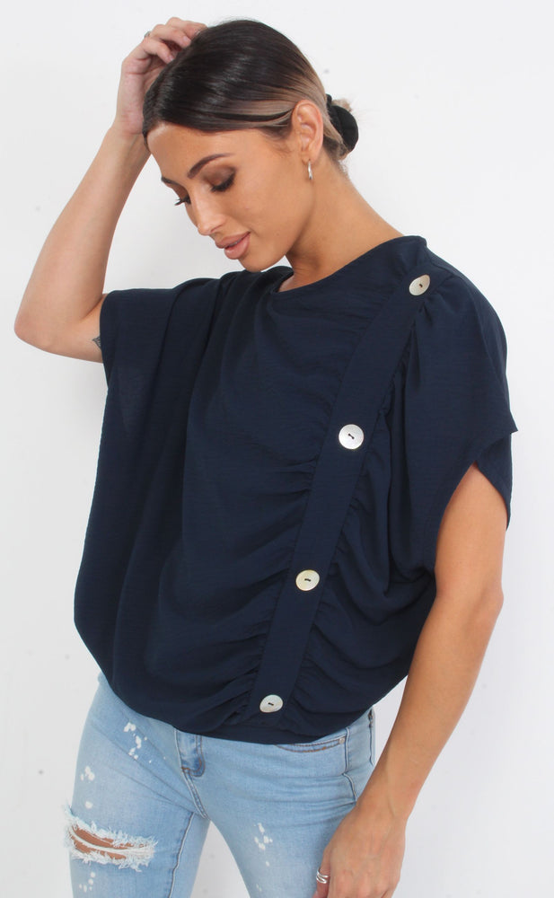 Navy Button Oversized Batwing Top - Missfiga.com