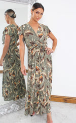 Arie Green Tropical Wrap Maxi Dress - Missfiga.com
