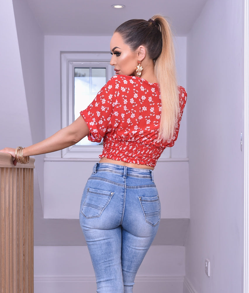 Red Alicia Floral Shirred Detail Crop Top