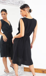 Lauren Black Wrap Skater Dress - Missfiga.com