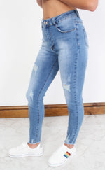 Blue Distressed Washed Ankle Grazer Jeans
