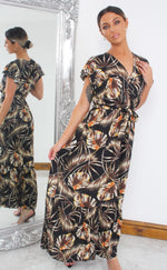 Arie Black Tropical Wrap Maxi Dress - Missfiga.com