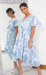 Blue Tie Dye Wrap Dipped Hem Ruffle Skater Dress - Missfiga.com