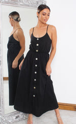Charlton Black Button Maxi Dress - Missfiga.com