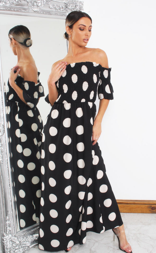 Cameron Black Shirred Polka Dot Maxi Dress - Missfiga.com