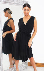 Lauren Black Wrap Skater Dress