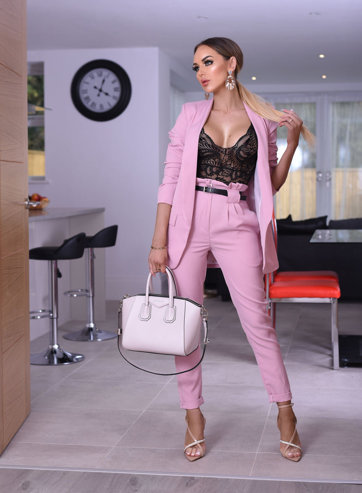 Alison Pink Paper Bag Pocket Belted Trousers