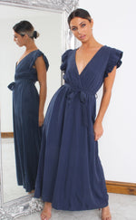 Arie Navy Wrap Maxi Dress - Missfiga.com