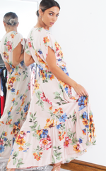 Helena Peach Floral Wrap Short Sleeve Gypsy Maxi Dress - Missfiga.com