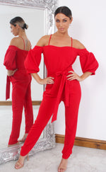 Kelly Red Bardot Balloon Sleeve Jumpsuit - Missfiga.com