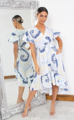 Clara Blue Tie Dye Wrap Dipped Hem Ruffle Skater Dress - Missfiga.com