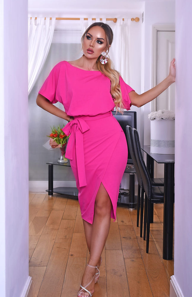 Judith Hot Pink Wrap Front Batwing Dress - Missfiga.com