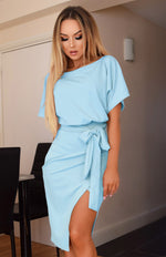 Judith Baby Blue Wrap Front Batwing Dress