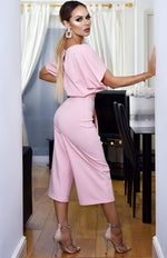 Jessica Batwing Belted Culotte Jumpsuit Pink