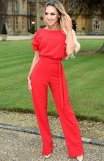 Jackie Red Batwing Jumpsuit