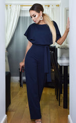 Jackie Navy Batwing Belted Jumpsuit - Missfiga.com