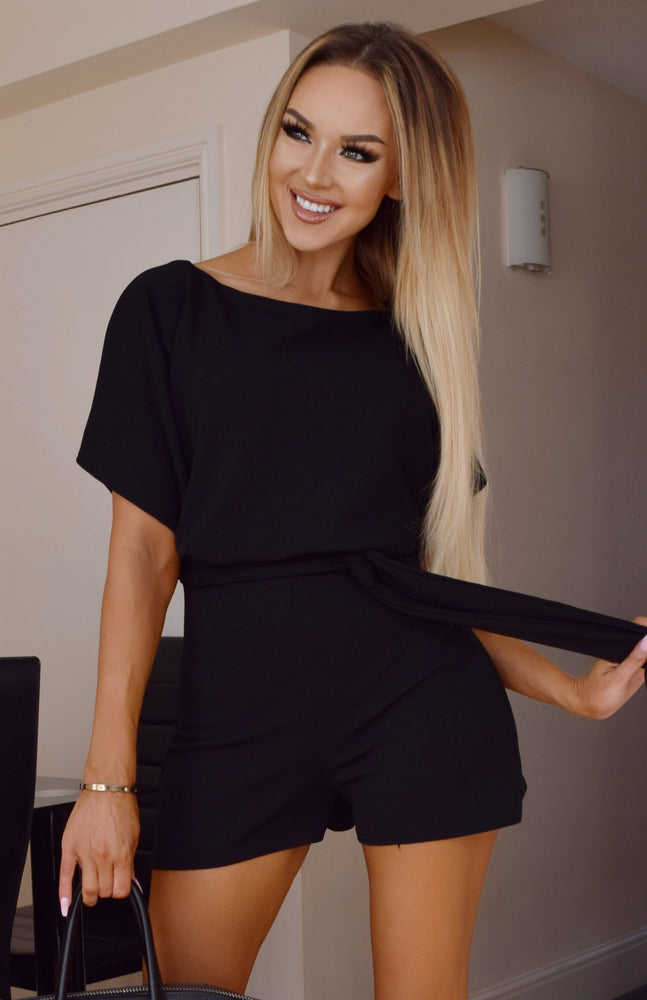 Deliah Black Batwing Wrapped Front Playsuit
