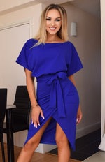 Judith Royal Blue Wrap Front Batwing Dress