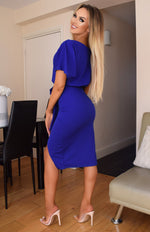 Judith Royal Blue Wrap Front Batwing Dress - Missfiga.com