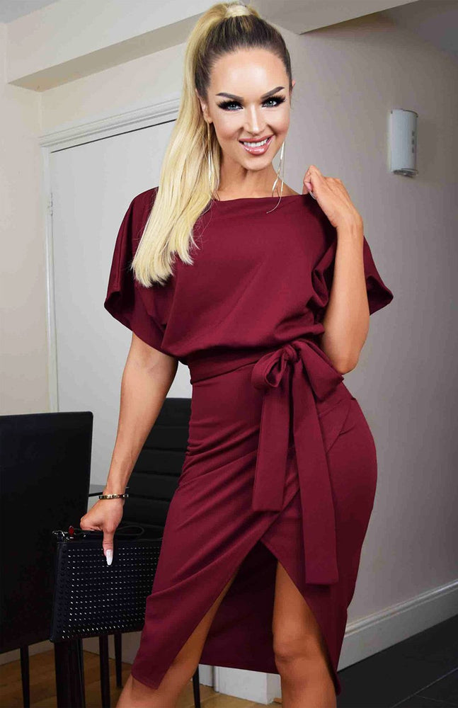 Judith Wine Wrap Front Batwing Dress