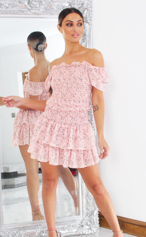 Barbara Pink Shirred Floral Co-ord set - Missfiga.com