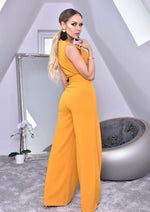 Annie Mustard Wide Leg Sleeveless Jumpsuit