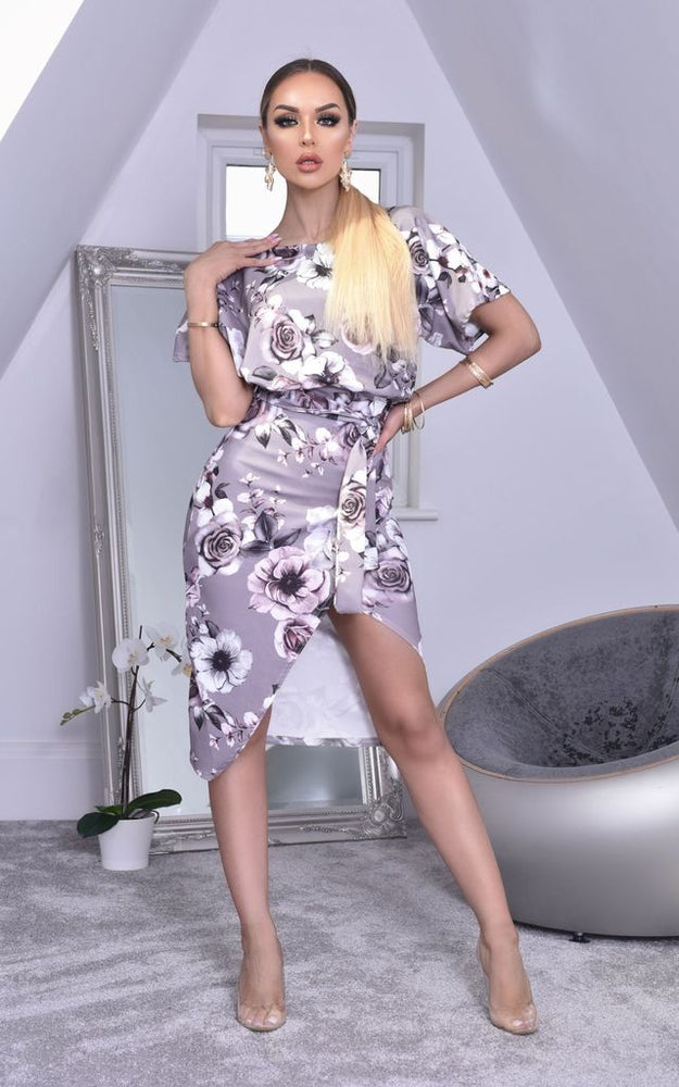 Grey Floral Judith Batwing Wrap Dress - Missfiga.com