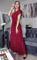 Regin Burgundy Metallic Polka Dot Wrap Maxi Dress