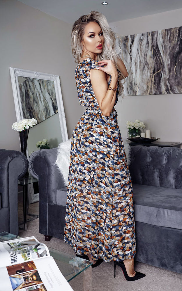 Lena Red Printed Wrap Maxi Dress - Missfiga.com