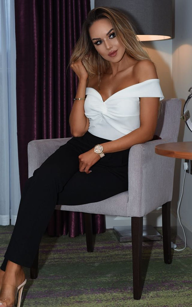Tabitha Monochrome Bardot Off the Shoulder Jumpsuit - Missfiga.com