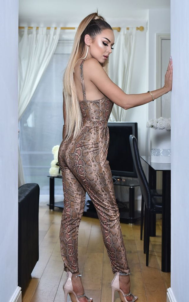 Brooklyn Wrap Jumpsuit Brown Snake Print