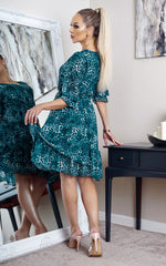 Rory Teal Animal Print Frill Hem Shift Dress - Missfiga.com