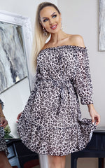 Leopard Nyla Bardot Long Sleeve Shift Dress Dress