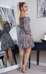 Leopard Nyla Bardot Long Sleeve Shift Dress Dress - Missfiga.com
