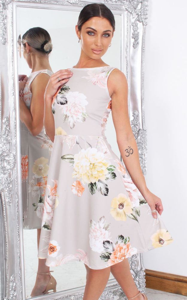 Elisha Grey Floral Sleeveless Skater Dress