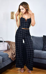 Luna Check Printed Jumpsuit Black - Missfiga.com