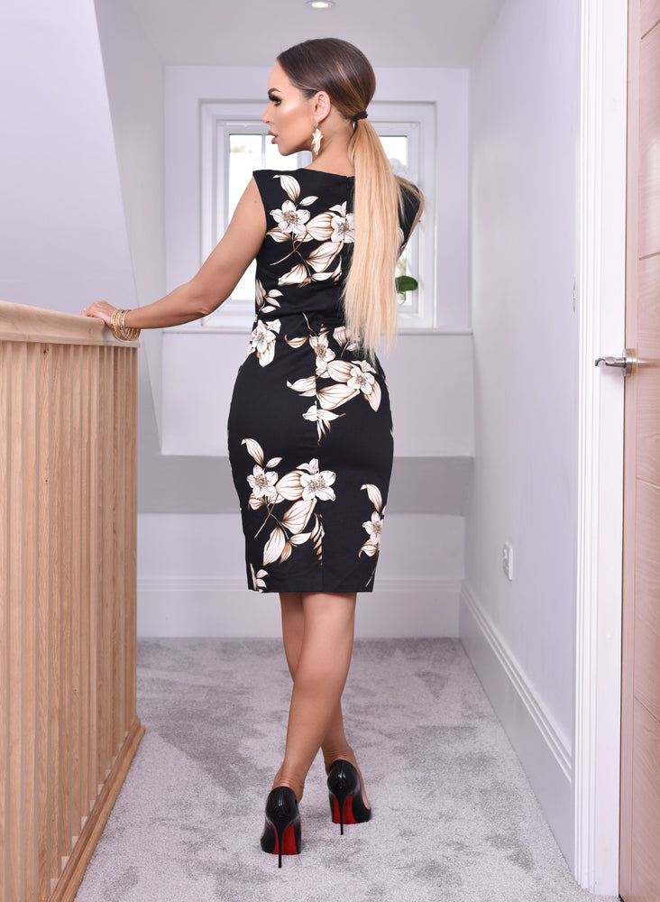 Megna Black Floral Midi Dress - Missfiga.com