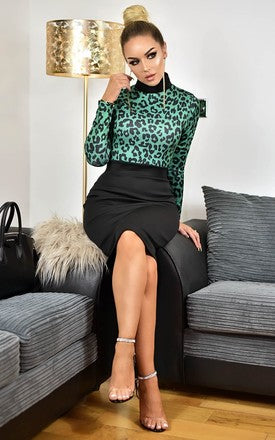 Martina Green Leopard Animal Print Contrast Dress