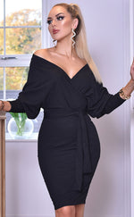 Michelle Black Long Sleeve Batwing Wrap Dress