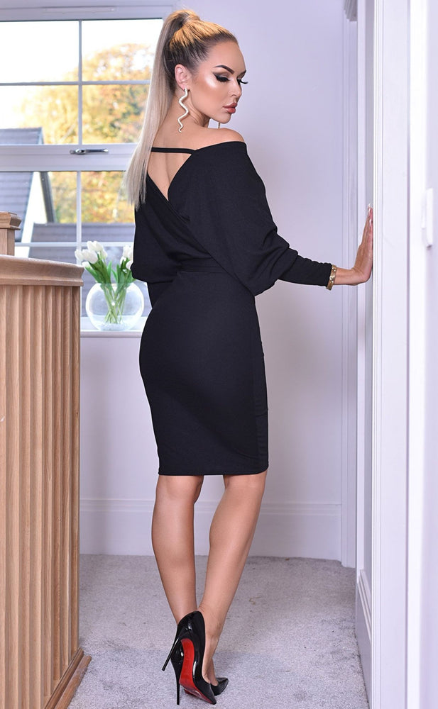 Michelle Black Long Sleeve Batwing Wrap Dress - Missfiga.com