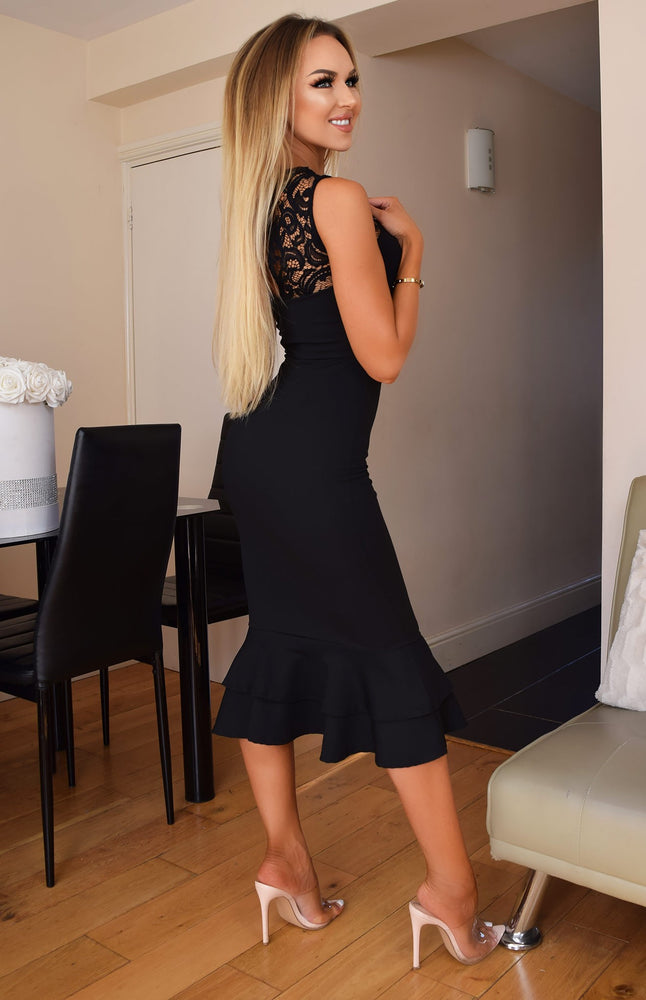 Maria Black Lace Frill Fishtail Dress