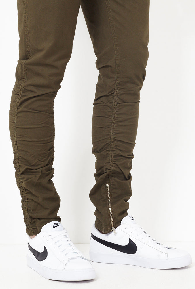 Mens Khaki Cotton Twill Ruched Skinny Leg Trousers