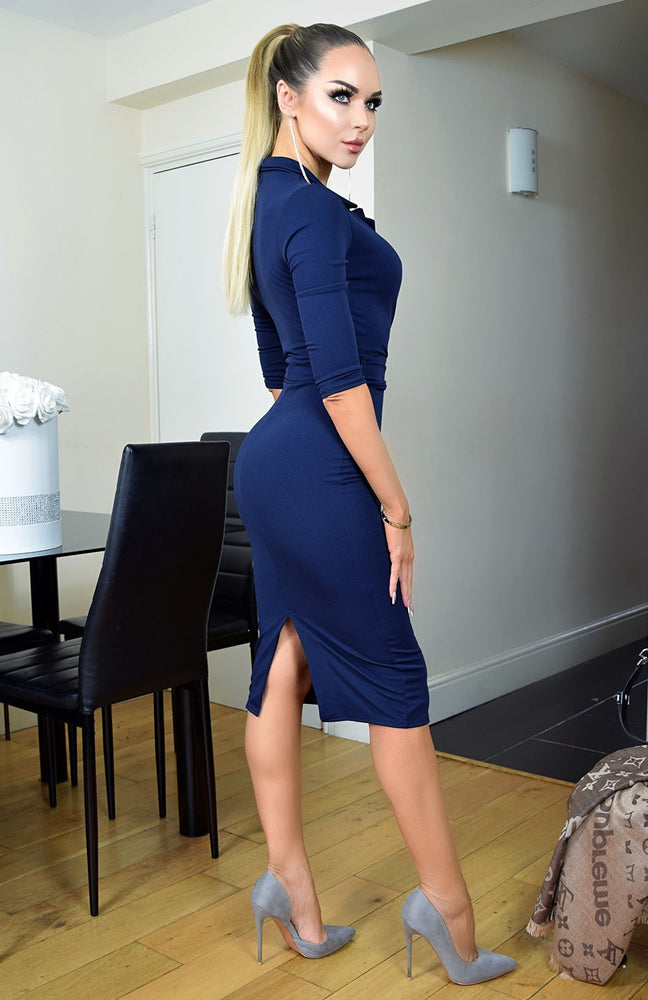 Noreen Navy Collard Front Wrap Dress - Missfiga.com