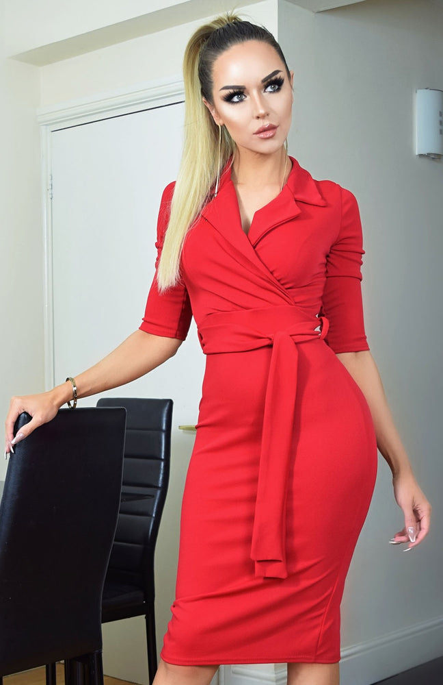 Noreen Red Collard Front Dress - Missfiga.com