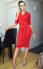 Noreen Red Collard Front Wrap Dress