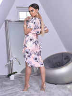 Peach Floral Judith Batwing Wrap Dress - Missfiga.com