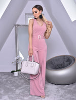 Annie Blush Pink Wide Leg Sleeveless Jumpsuit - Missfiga.com